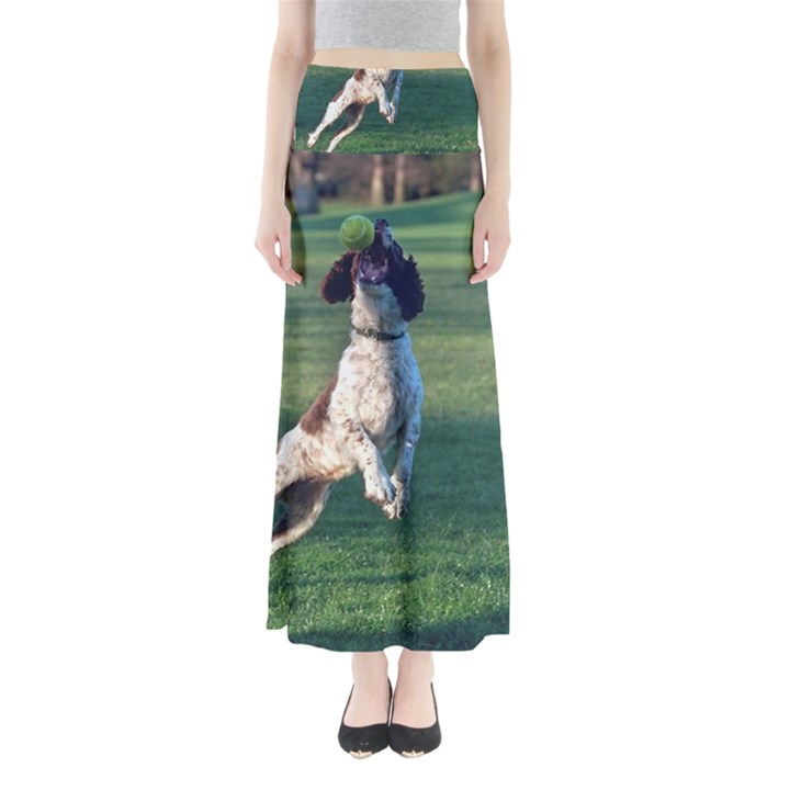 English Springer Catching Ball Maxi Skirts