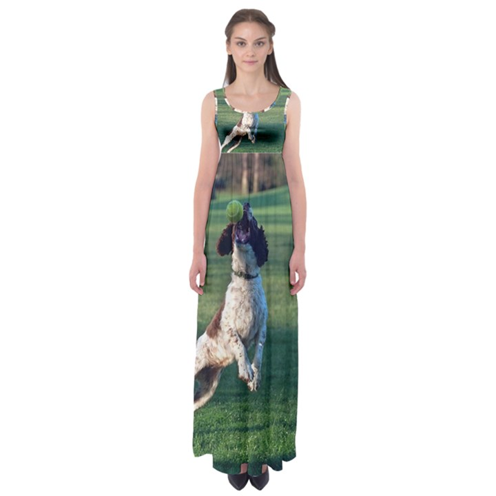 English Springer Catching Ball Empire Waist Maxi Dress