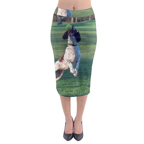 English Springer Catching Ball Midi Pencil Skirt