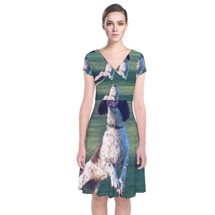English Springer Catching Ball Short Sleeve Front Wrap Dress