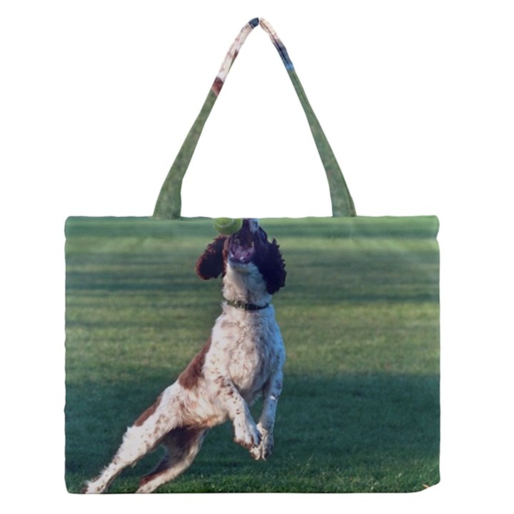 English Springer Catching Ball Medium Zipper Tote Bag