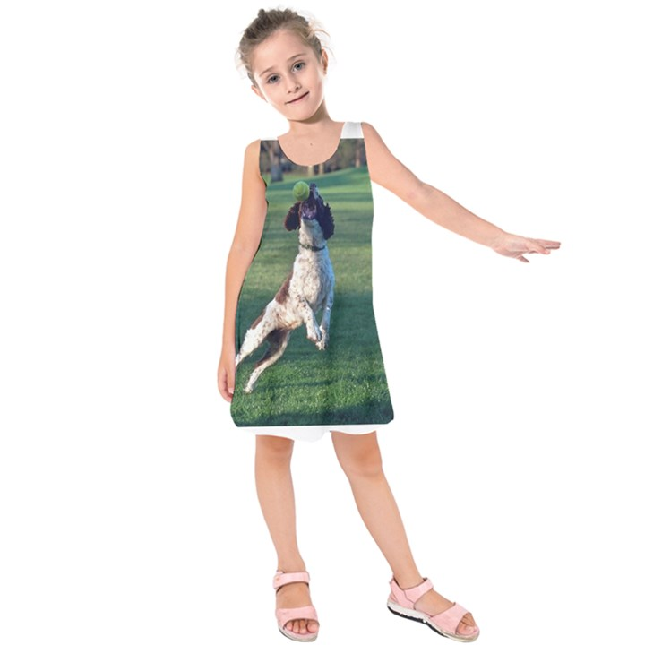 English Springer Catching Ball Kids  Sleeveless Dress