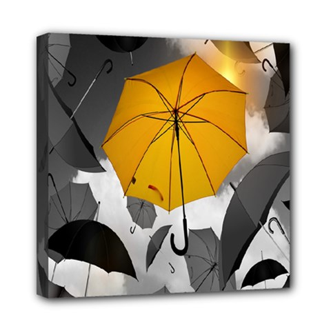 Umbrella Yellow Black White Mini Canvas 8  x 8