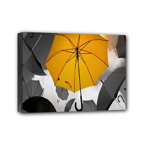 Umbrella Yellow Black White Mini Canvas 7  x 5