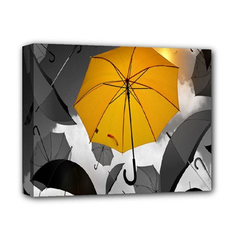 Umbrella Yellow Black White Deluxe Canvas 14  x 11