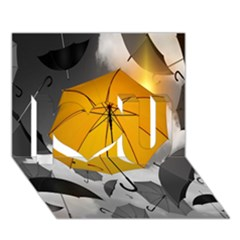 Umbrella Yellow Black White I Love You 3D Greeting Card (7x5)