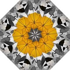 Umbrella Yellow Black White Hook Handle Umbrellas (Medium)