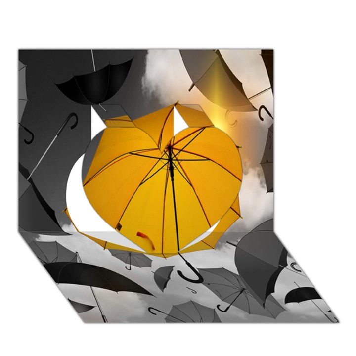 Umbrella Yellow Black White Heart 3D Greeting Card (7x5)