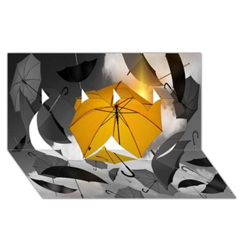 Umbrella Yellow Black White Twin Hearts 3D Greeting Card (8x4)