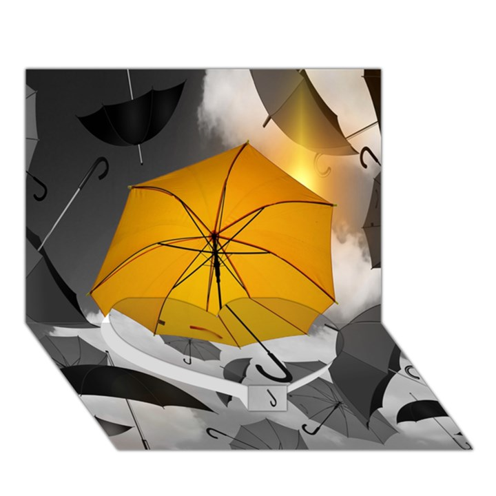 Umbrella Yellow Black White Heart Bottom 3D Greeting Card (7x5)