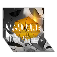 Umbrella Yellow Black White YOU ARE INVITED 3D Greeting Card (7x5)