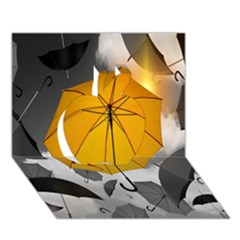 Umbrella Yellow Black White Apple 3D Greeting Card (7x5)