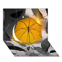 Umbrella Yellow Black White Circle 3D Greeting Card (7x5)