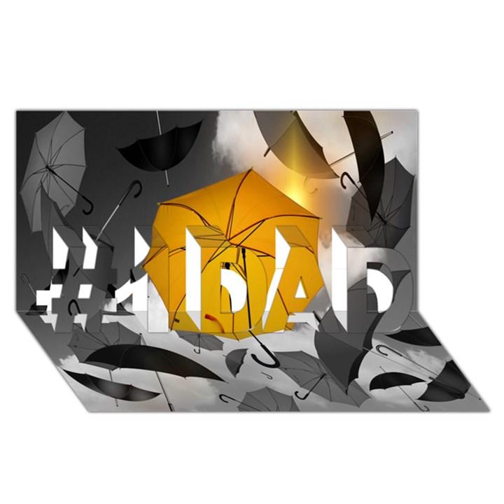 Umbrella Yellow Black White #1 DAD 3D Greeting Card (8x4)