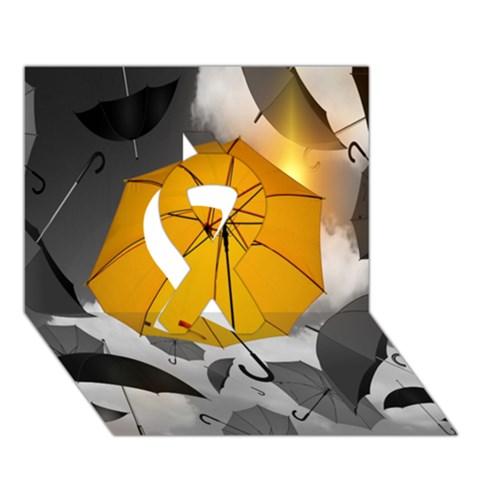 Umbrella Yellow Black White Ribbon 3D Greeting Card (7x5)