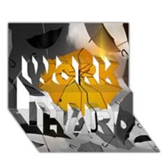 Umbrella Yellow Black White WORK HARD 3D Greeting Card (7x5)