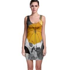 Umbrella Yellow Black White Sleeveless Bodycon Dress