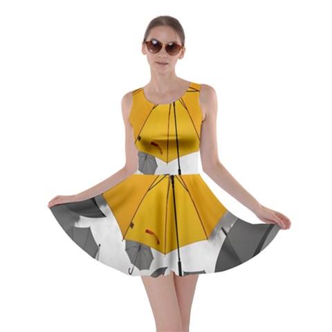 Umbrella Yellow Black White Skater Dress