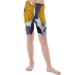 Umbrella Yellow Black White Kids  Mid Length Swim Shorts