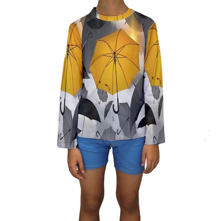 Umbrella Yellow Black White Kids  Long Sleeve Swimwear