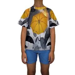 Umbrella Yellow Black White Kids  Short Sleeve Swimwear