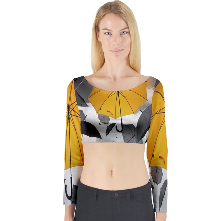Umbrella Yellow Black White Long Sleeve Crop Top