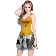 Umbrella Yellow Black White Reversible Sleeveless Dress