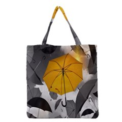 Umbrella Yellow Black White Grocery Tote Bag