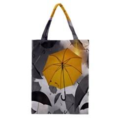 Umbrella Yellow Black White Classic Tote Bag