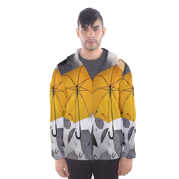 Umbrella Yellow Black White Hooded Wind Breaker (Men)