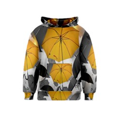 Umbrella Yellow Black White Kids  Pullover Hoodie