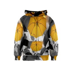 Umbrella Yellow Black White Kids  Zipper Hoodie