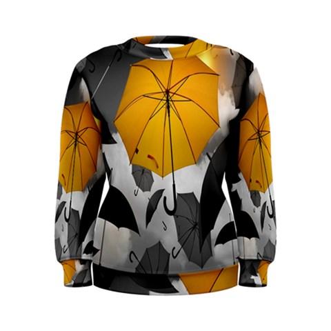 Umbrella Yellow Black White Women s Sweatshirt