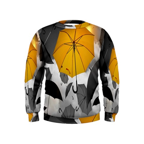 Umbrella Yellow Black White Kids  Sweatshirt