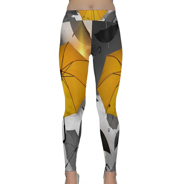 Umbrella Yellow Black White Yoga Leggings