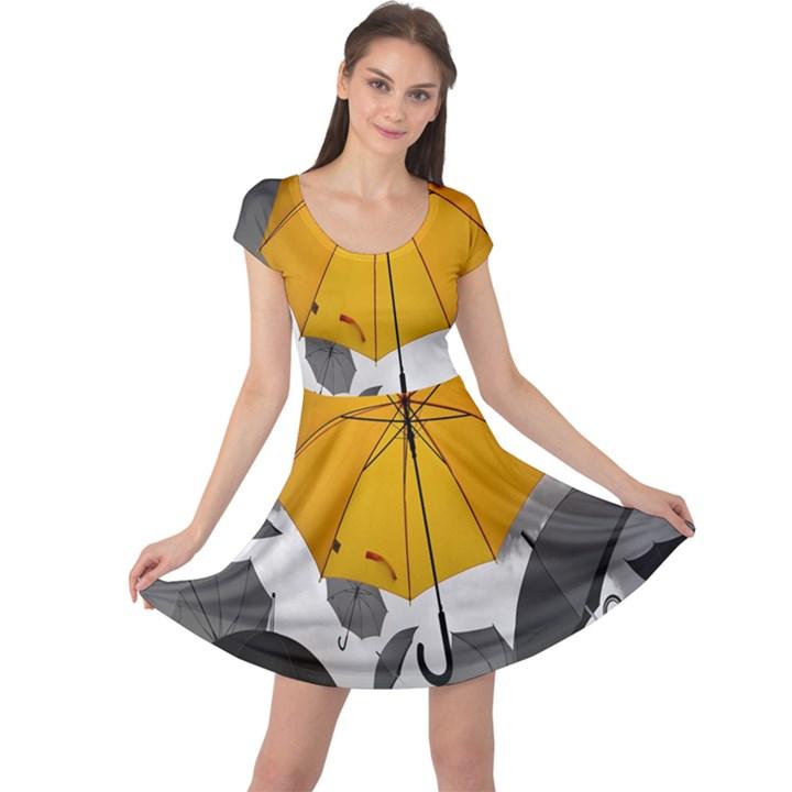 Umbrella Yellow Black White Cap Sleeve Dresses