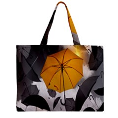 Umbrella Yellow Black White Zipper Mini Tote Bag