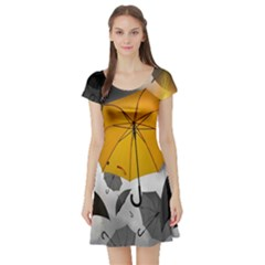 Umbrella Yellow Black White Short Sleeve Skater Dress