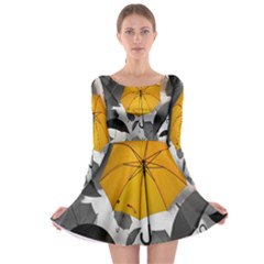 Umbrella Yellow Black White Long Sleeve Skater Dress