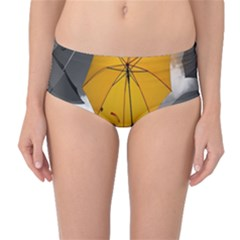 Umbrella Yellow Black White Mid-Waist Bikini Bottoms