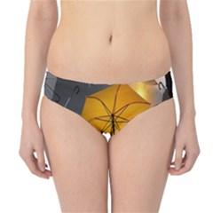 Umbrella Yellow Black White Hipster Bikini Bottoms