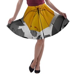 Umbrella Yellow Black White A-line Skater Skirt
