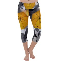 Umbrella Yellow Black White Capri Yoga Leggings