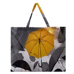 Umbrella Yellow Black White Zipper Large Tote Bag
