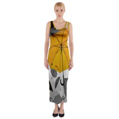 Umbrella Yellow Black White Fitted Maxi Dress