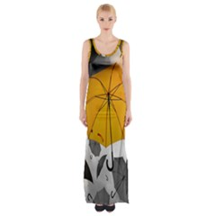 Umbrella Yellow Black White Maxi Thigh Split Dress