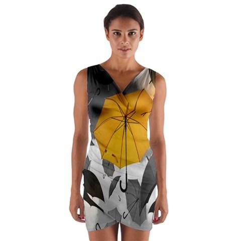 Umbrella Yellow Black White Wrap Front Bodycon Dress