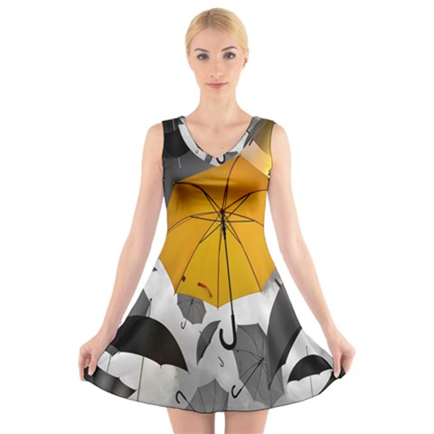 Umbrella Yellow Black White V-Neck Sleeveless Skater Dress