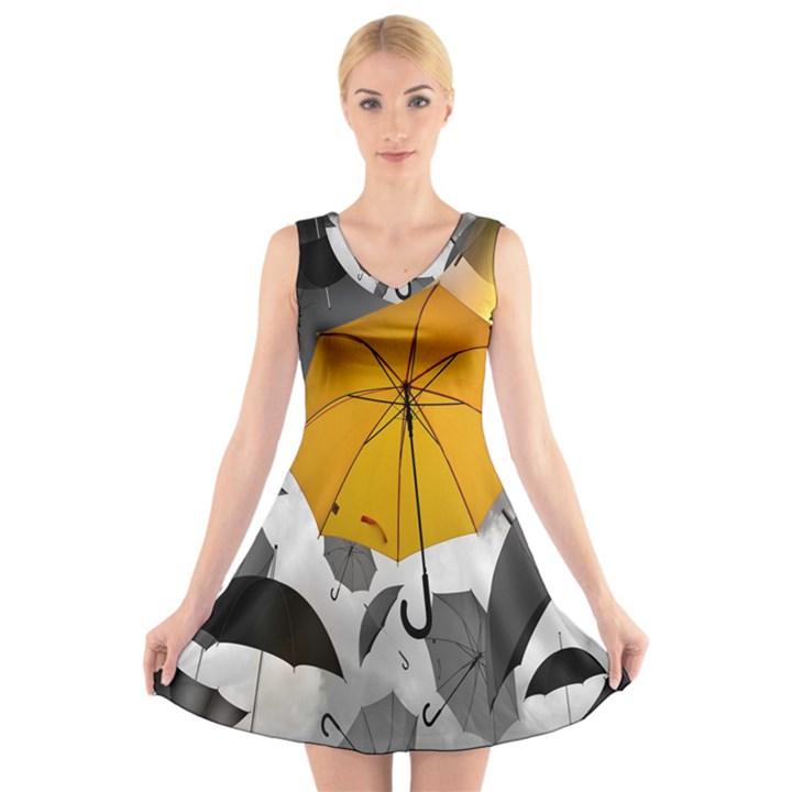 Umbrella Yellow Black White V-Neck Sleeveless Skater Dress