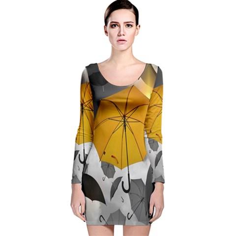 Umbrella Yellow Black White Long Sleeve Velvet Bodycon Dress